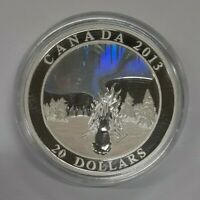 2013 Canada $20 1 Oz Fine Silver The Great Hare/Northern Lights Holographic