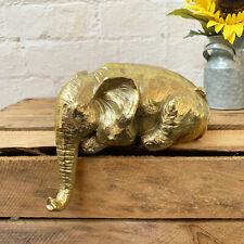 Vintage Gold African Elephant Sculpture Statue Decorative Shelf Sitter Ornament