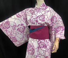浴衣 Yukata japonais - Motifs Roses Blanc Rose  - Import direct Japon !