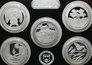 2020 S ATB Quarters Silver Proof America the Beautiful US Five 25c Coins No Box