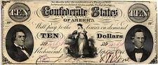 "1861 $10 Confederate States of America ""Hope & Anchor"" Super Nice T-25-168 VF+"