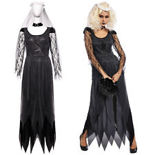 Ms Halloween Black Zombie Ghost Bride Costume Clothing Dress Veil Necklace
