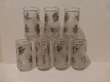 Vintage Libbey Silver Foliage Leaf (7) Highball Beverage Glasses 15 Oz.   (S4