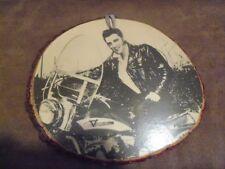 Vintage Elvis Presley Picture Laminated on harley davidson Wood Plaque Mounting