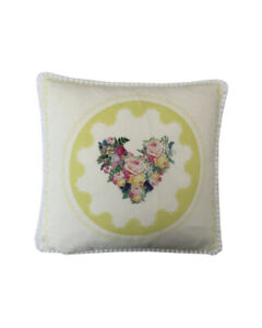 """16"""" Vintage style Yellow Floral Hearts White pompom trim scatter cushion covers"""