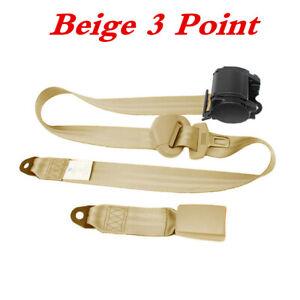 3Point Adjustable Heavy-duty Nylon Lap Seat Belt for Car Truck Front Chair Beige