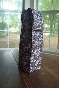 Thirty-one Insulated Wine Tote ~ Brown Woodblock Floral