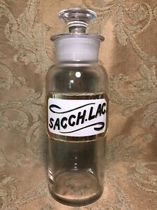"8"" Antique APOTHECARY BOTTLE JAR Label Under Glass ""SACCH.LAC."""