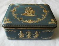 Vintage TIN BOX Wedgwood Style, Women Ladies Dancing, Playing Lyre, Blue & Cream