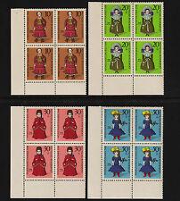 OPC 1968 Germany Set Sc#B438-441 Mi#571-4 Corner Margins Blocks MNH VF