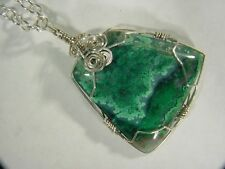 BUTW Sterling Silver Wire Wrapped Gem Silica Lapidary Specimen Pendant 8741C dle