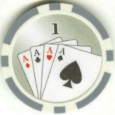 5 pc 4 Aces and Royal Flush poker chip sample set #203