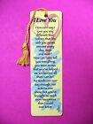 'I Love You'  Poem on a Tassel Bookmark (maise tassel)-Sku# 946