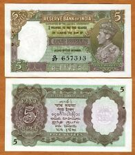 India, 5 Rupees, ND (1937), P-18 (18a), KGVI, WWII, UNC > W/H