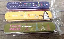 Vintage Style Set Of 3 Metal Paris French Eiffel Tower Pencil Tin Case Box