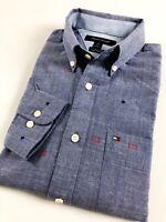 TOMMY HILFIGER Shirt Men's Indigo Blue Chambray Flag Logo Print Custom Fit