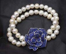 2rows freshwater pearl white near round &blue zircon bracelet nature  wholesale