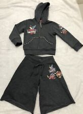 $146 FLOWERS BY ZOE GIRLS EMBELLISED HEART LOVE HOODIE/ SHORT SET SZ 2T