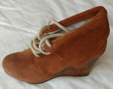 Womens Ladies Tan Brown Suede Wedge Lace-Up Ankle Boots Size 5/38 New