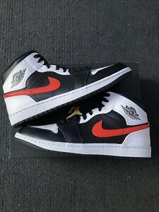 New Jordan 1 Mid Black Chile Red White Size 11
