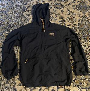 LL Bean Mountain Classic Anorak Rain Jacket Pullover Men's Medium Regular Black