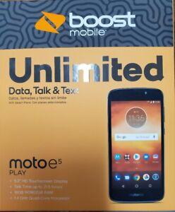 Motorola Moto E Play 5th Gen XT1921-2 16GB Lock for Boost Mobile Smartphone New