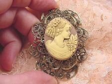 CM7-8) RINGLETS GIRL brown ivory CAMEO filigree brass Pin Pendant Jewelry brooch