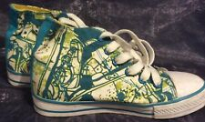 M&S Boys sneakers baseball boot style shoes UK 1 green and yellow print