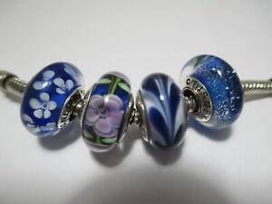 4 Pandora Silver 925 Ale Glass Bead Daisy Swirl Flower Disney Blue Collection