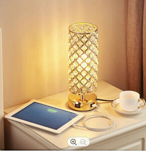 Crystal Gold Table Lamp with USB charging points. Bulb included.