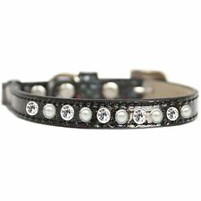 Mirage Pet Products Pearl and Clear Jewel Ice Cream Cat safety collar Black S.