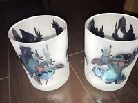 Set of 2 Frosted Drinking Glasses Disney Lilo & Stitch Cup Set Disney