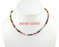 """NATURAL MULTI TOURMALINE 3-4MM RONDELLE FACETED BEADS 12"""" STRAND CHOKER NECKLACE"""
