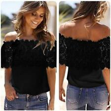 Sexy Women Off Shoulder Loose Casual Tops Blouse Lace Crochet Chiffon Shirt CA