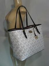 NWT Michael Kors Jet Set Navy White Vanilla MK Carryall PVC LG Tote Shopper Bag