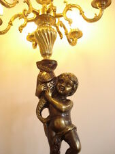 wunderschöne Engel - Stehlampe 7 flammig - aus Messing - antike Lampe  - Barock-