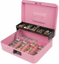 Cash Box Money Coin Tray Case Travel Storage Combination Lock Metal Safe Pink