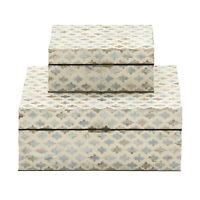 Zimlay Traditional Wood And Mop Zig-Zag Set Of Two Boxes 41126