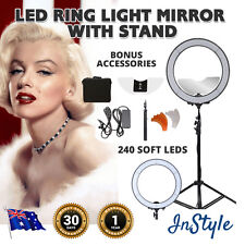 "Dimmable Diva Ring Light 240 Soft LEDs 19"" w/- Makeup Mirror Selfie Set Kit Bag"