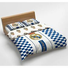 REAL MADRID CF CHECKED DOUBLE DUVET COVER SET FOOTBALL 100% COTTON EUROPEAN