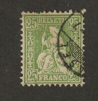 Switzerland stamp #55a.  Used, 1867 - 78, 25c yellow green, SCV $40