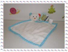 R - Doudou Plat Carré Ours Blanc Fourrure Bleu Pois Grelot Baby Cuddle Cloth