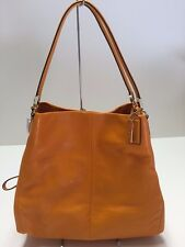 NWOT COACH MADISON LEATHER SMALL PHOEBE LIGHT GOLD BRIGHT MANDARIN F26224