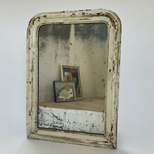 Antique French Distressed Louis Philippe Mirror Mercury Glass