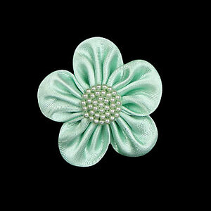 """2.5"""" Hand Sewn Satin Pearl Beaded Flower Red Blue Green Black Peach Pink"""