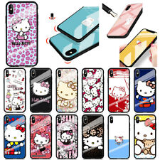 Hello Kitty Cartoon Shockproof Case Tempered Glass Cover For iPhone Samsung