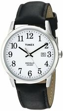Timex TW2P75600 Men's Indiglo Easy Reader White Dial Date Leather Band Watch
