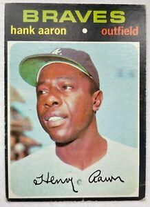 ORIGINAL 1971 TOPPS #400 HANK AARON BASEBALL CARD GOOD CREASE ATLANTA BRAVES HOF