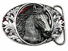 Horse Head Belt Buckle Floral Patterned Oval Western Authentic Bergamot Product