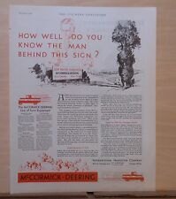 1930 magazine ad for McCormick Deering Farm Equipment - How Well do you know